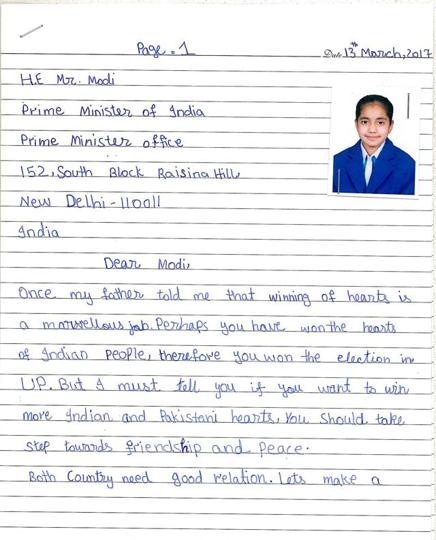 pak girl writes letter to pm narendra modi page 1